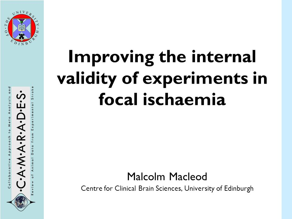 Improving the internal validity of experiments in focal ischaemia Malcolm Macleod Centre for Clinical Brain Sciences, University of Edinburgh