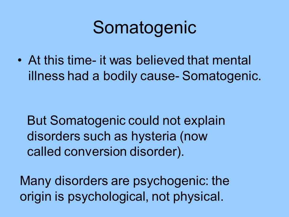 Somatogenic At this time- it was believed that mental illness had a bodily cause- Somatogenic. But Somatogenic could not explain disorders such as hys