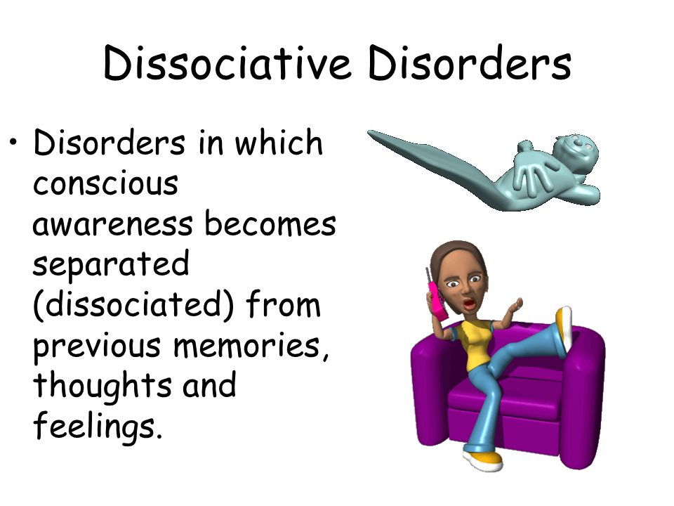 Disorders in which conscious awareness becomes separated (dissociated) from previous memories, thoughts and feelings.
