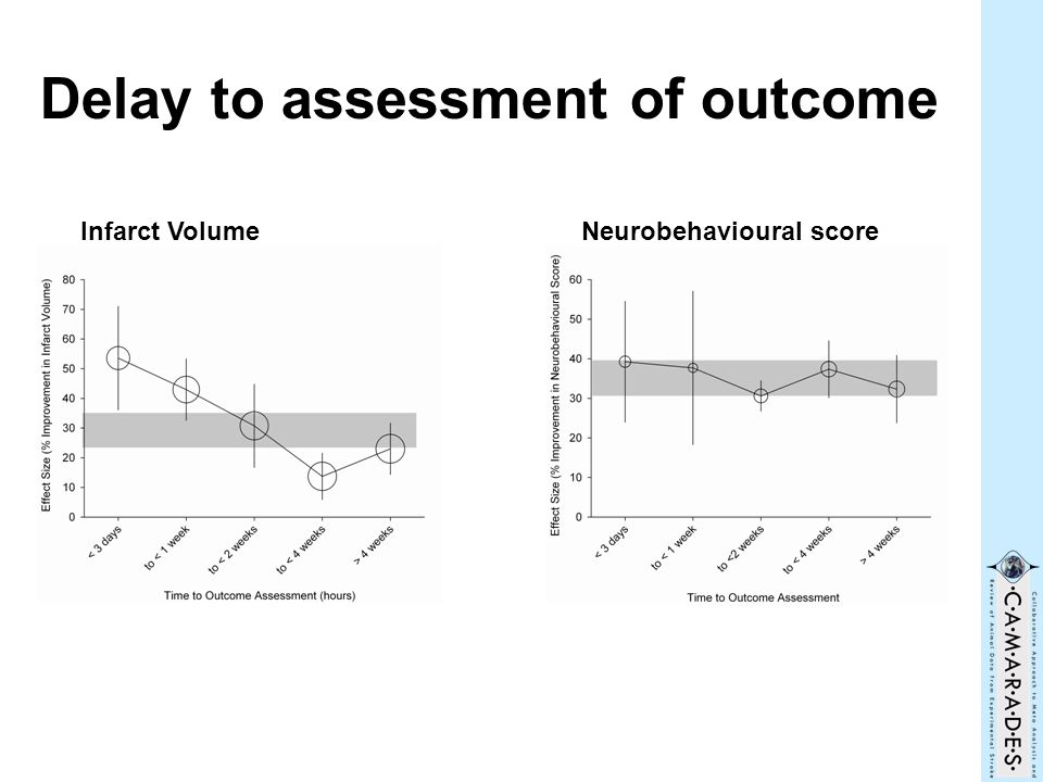 Delay to assessment of outcome Infarct VolumeNeurobehavioural score