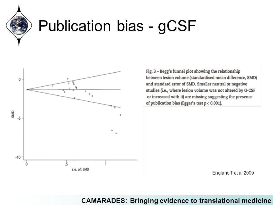 CAMARADES: Bringing evidence to translational medicine Publication bias - gCSF England T et al 2009