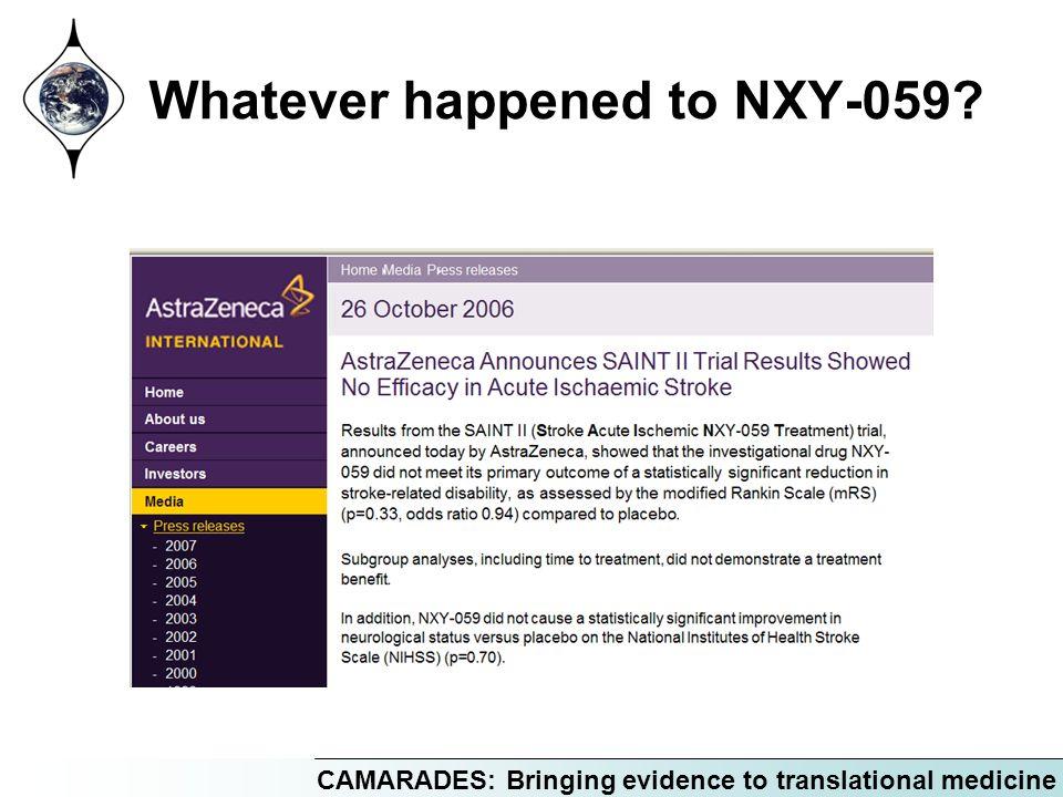 CAMARADES: Bringing evidence to translational medicine Whatever happened to NXY-059