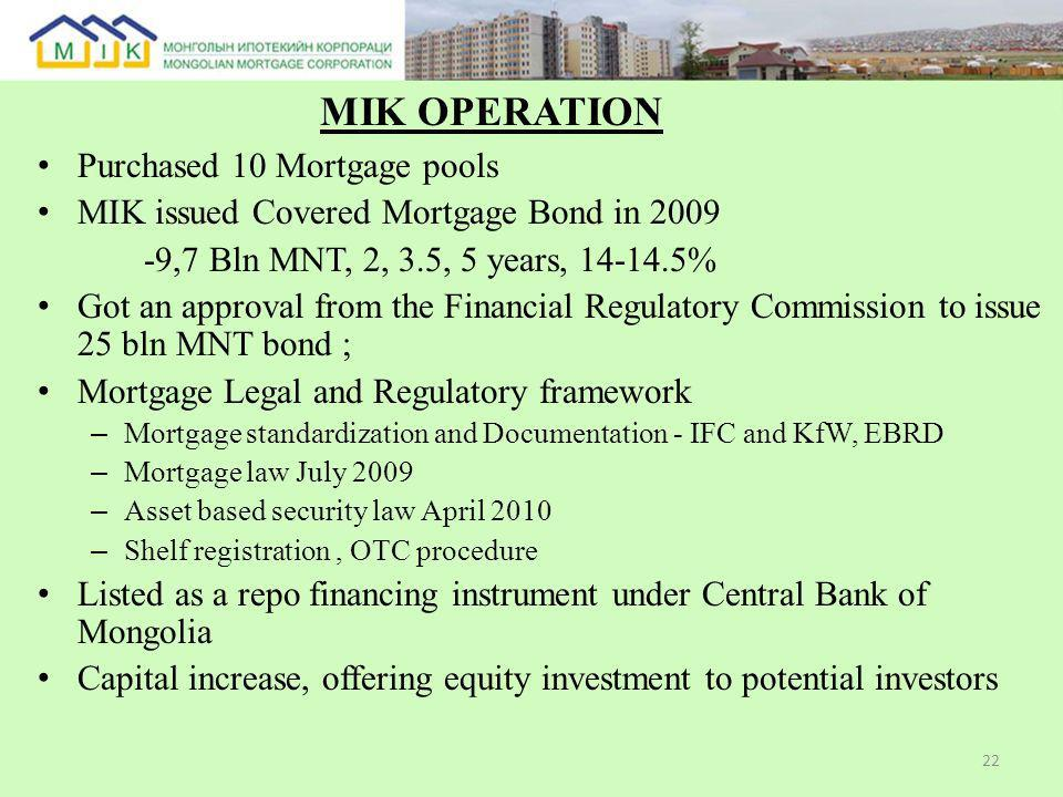 Purchased 10 Mortgage pools MIK issued Covered Mortgage Bond in 2009 -9,7 Bln MNT, 2, 3.5, 5 years, 14-14.5% Got an approval from the Financial Regulatory Commission to issue 25 bln MNT bond ; Mortgage Legal and Regulatory framework – Mortgage standardization and Documentation - IFC and KfW, EBRD – Mortgage law July 2009 – Asset based security law April 2010 – Shelf registration, OTC procedure Listed as a repo financing instrument under Central Bank of Mongolia Capital increase, offering equity investment to potential investors 22 МIK OPERATION
