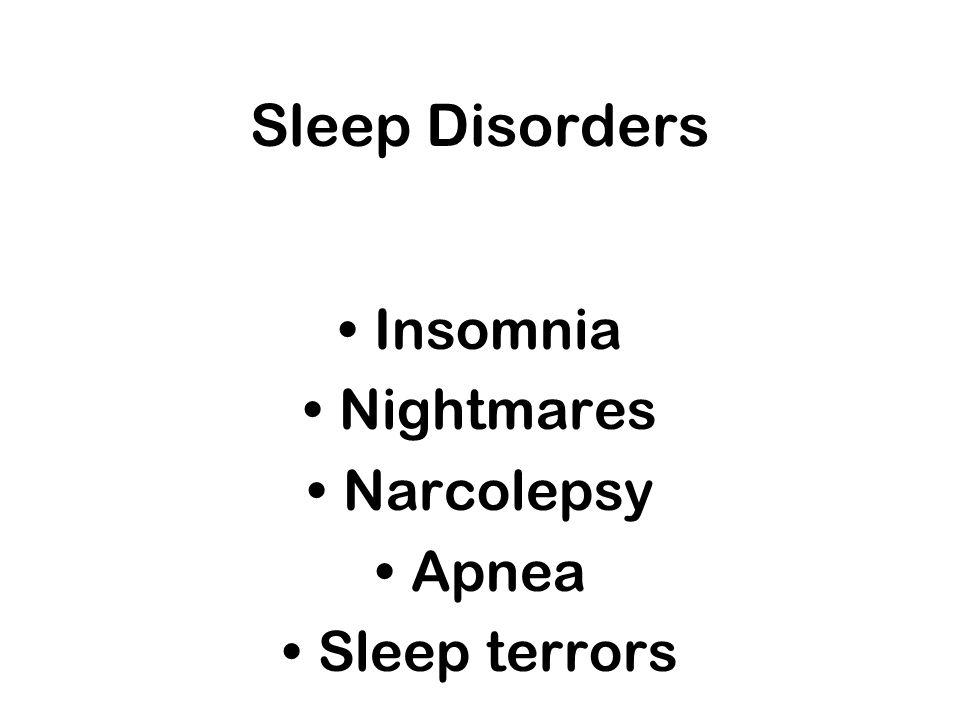 Sleep Disorders Insomnia Nightmares Narcolepsy Apnea Sleep terrors