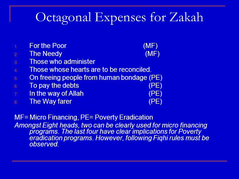 Octagonal Expenses for Zakah 1. For the Poor (MF) 2.
