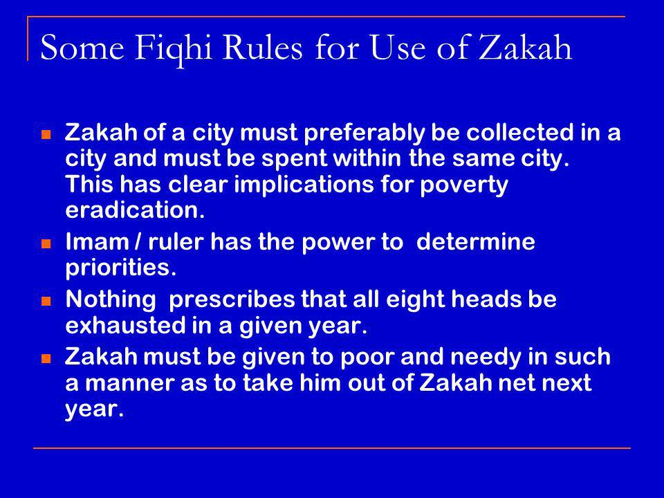 Some Fiqhi Rules for Use of Zakah Zakah of a city must preferably be collected in a city and must be spent within the same city.