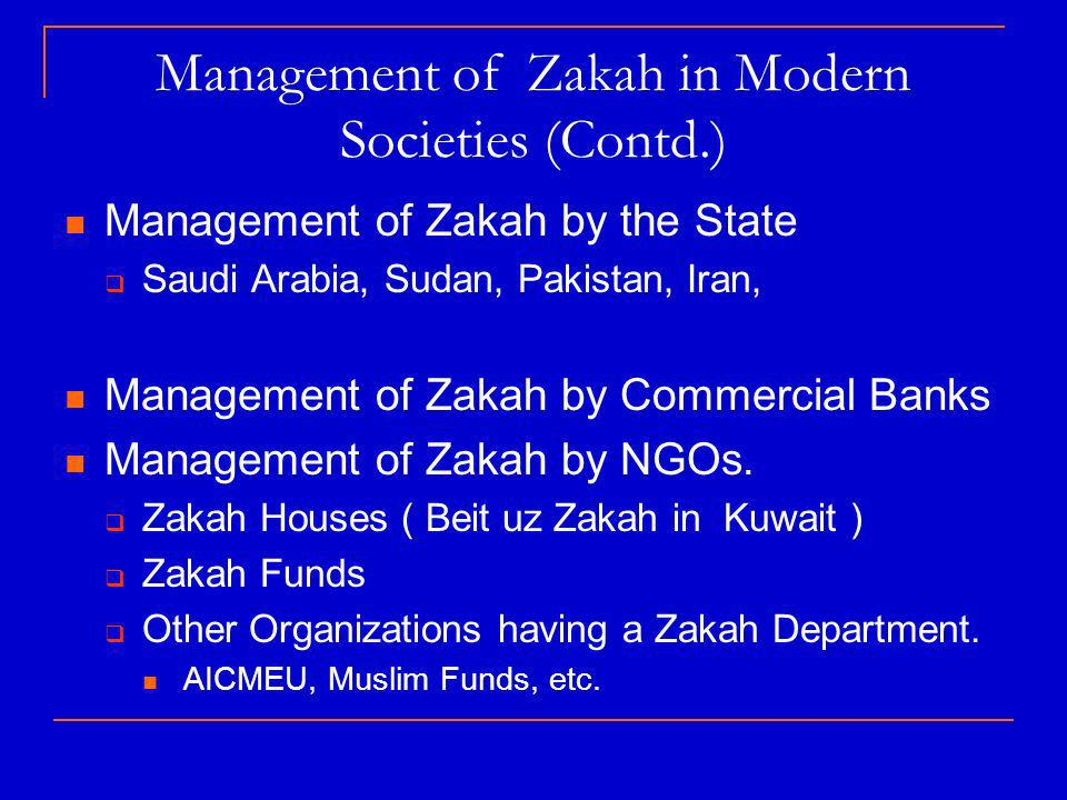Management of Zakah in Modern Societies (Contd.) Management of Zakah by the State Saudi Arabia, Sudan, Pakistan, Iran, Management of Zakah by Commercial Banks Management of Zakah by NGOs.