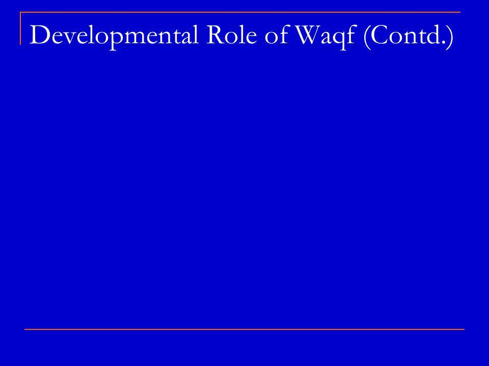 Developmental Role of Waqf (Contd.)