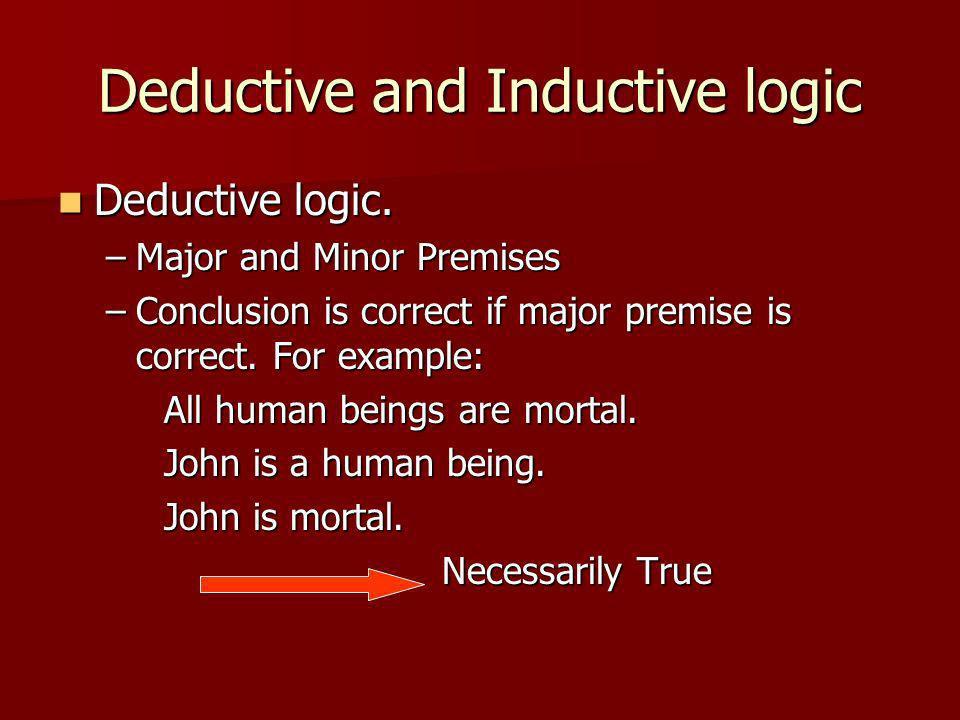 Deductive and Inductive logic Deductive logic. Deductive logic.