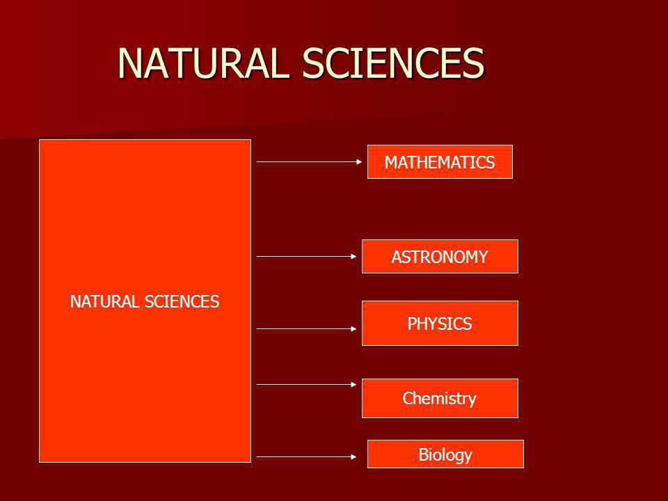 NATURAL SCIENCES MATHEMATICS ASTRONOMY PHYSICS Chemistry Biology