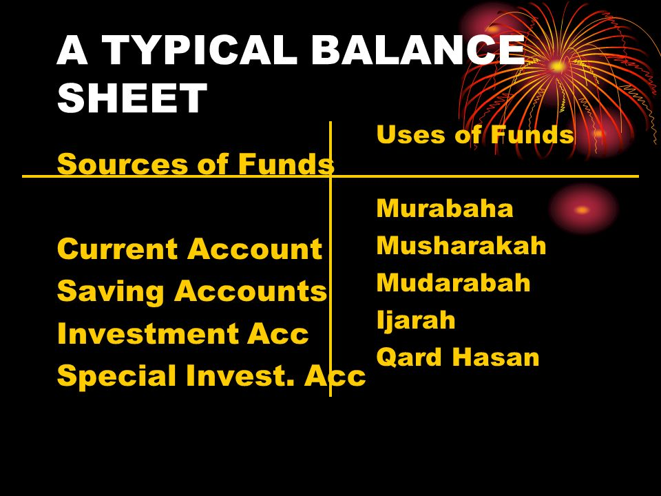 A TYPICAL BALANCE SHEET Sources of Funds Current Account Saving Accounts Investment Acc Special Invest.