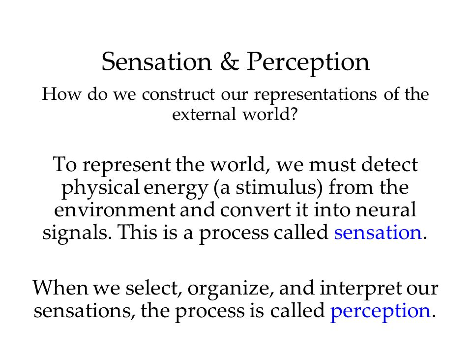 Sensation & Perception How do we construct our representations of the external world? To represent the world, we must detect physical energy (a stimul