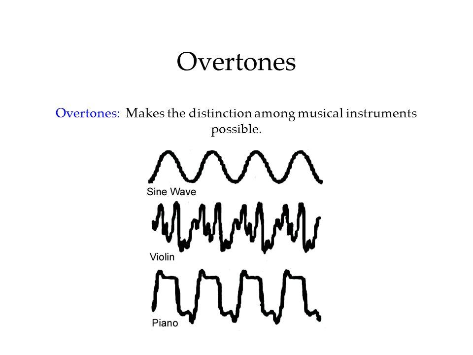 Overtones Overtones: Makes the distinction among musical instruments possible.