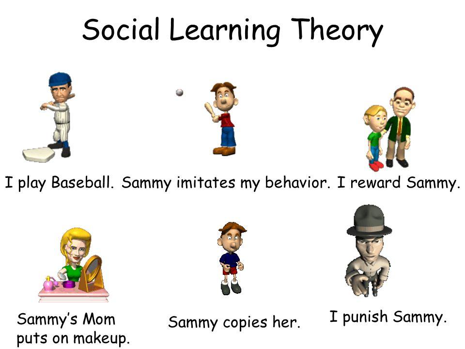 Social Learning Theory I play Baseball.Sammy imitates my behavior.I reward Sammy. Sammys Mom puts on makeup. Sammy copies her. I punish Sammy.