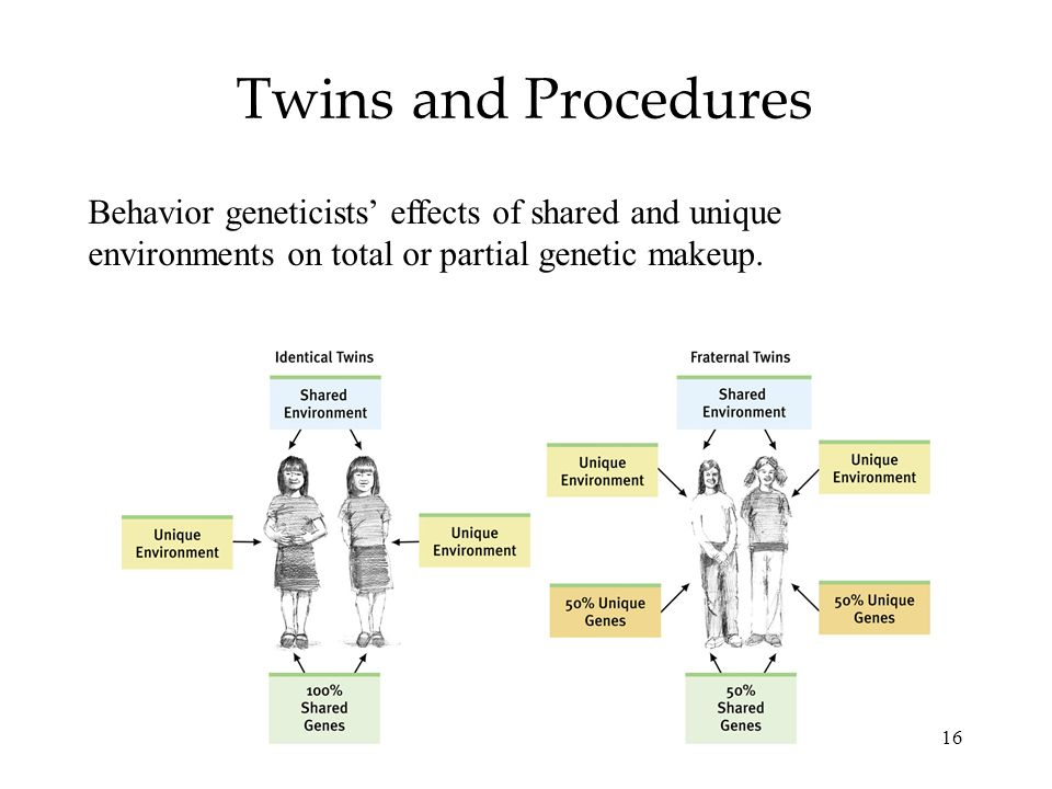 16 Twins and Procedures Behavior geneticists effects of shared and unique environments on total or partial genetic makeup.