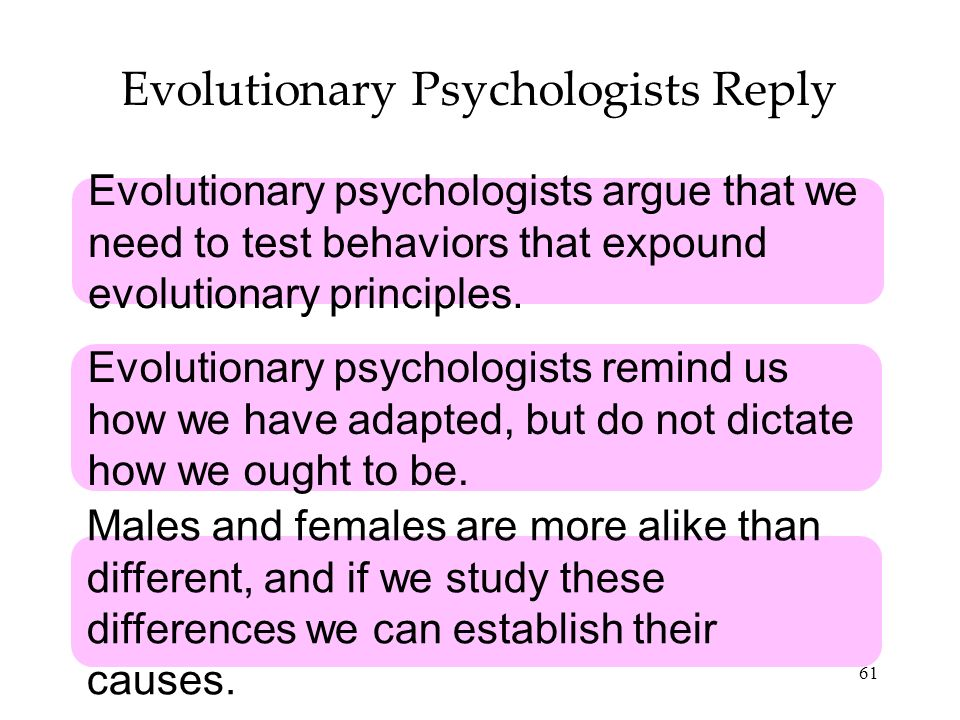 61 Evolutionary Psychologists Reply Evolutionary psychologists argue that we need to test behaviors that expound evolutionary principles.