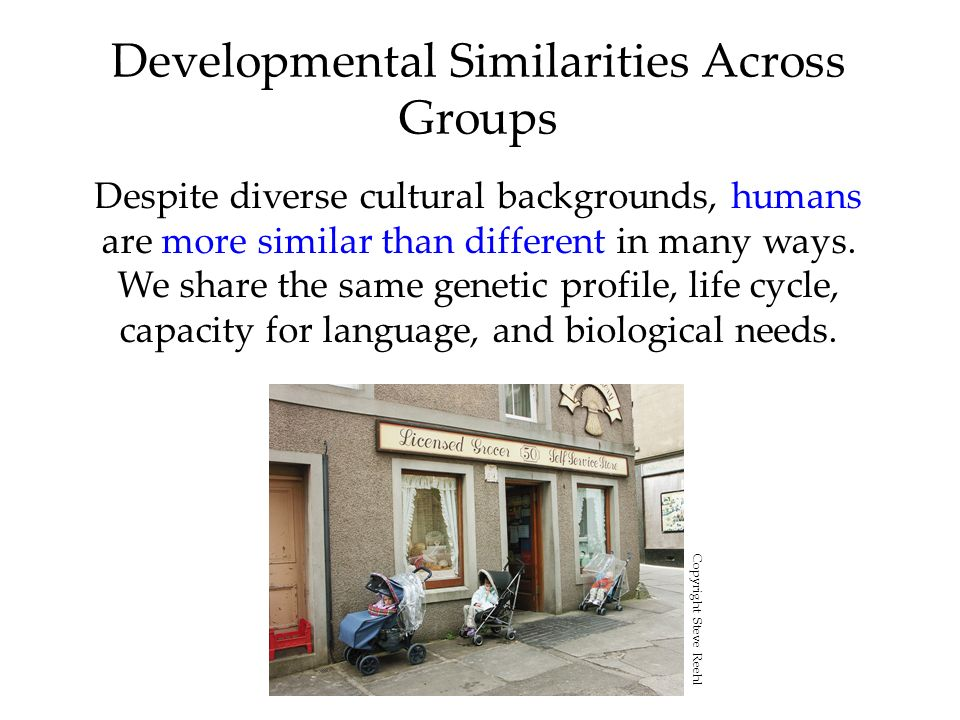Developmental Similarities Across Groups Despite diverse cultural backgrounds, humans are more similar than different in many ways. We share the same