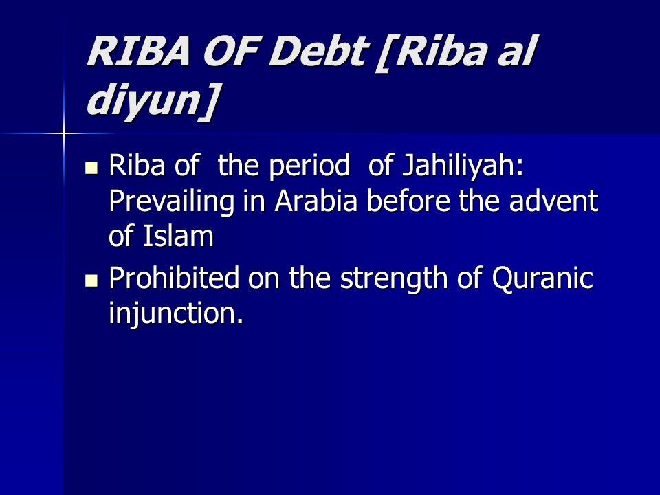 RIBA OF Debt [Riba al diyun] Riba of the period of Jahiliyah: Prevailing in Arabia before the advent of Islam Riba of the period of Jahiliyah: Prevail