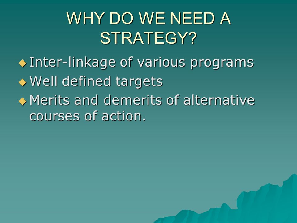WHY DO WE NEED A STRATEGY.