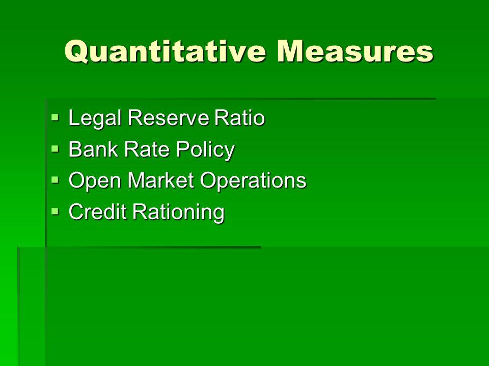 Quantitative Measures Legal Reserve Ratio Legal Reserve Ratio Bank Rate Policy Bank Rate Policy Open Market Operations Open Market Operations Credit R