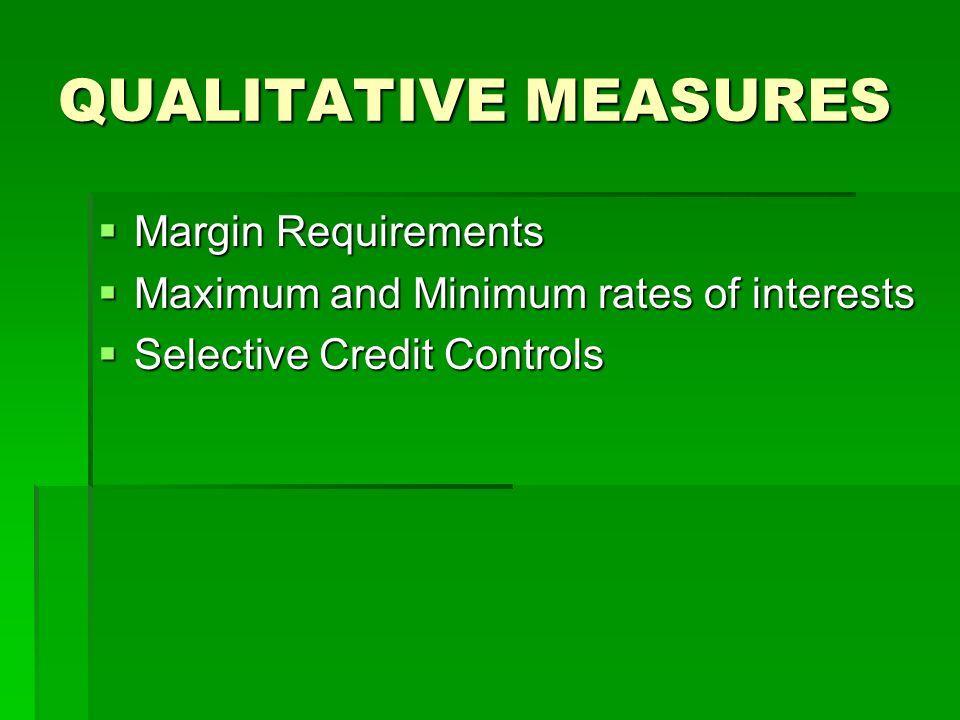 QUALITATIVE MEASURES Margin Requirements Margin Requirements Maximum and Minimum rates of interests Maximum and Minimum rates of interests Selective C