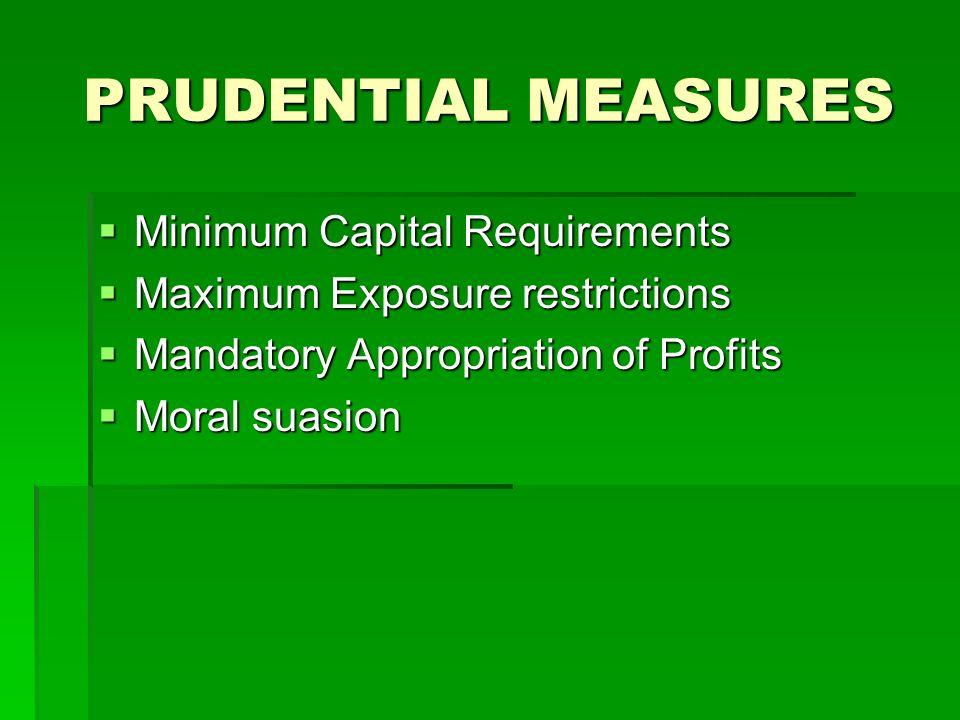 PRUDENTIAL MEASURES Minimum Capital Requirements Minimum Capital Requirements Maximum Exposure restrictions Maximum Exposure restrictions Mandatory Ap