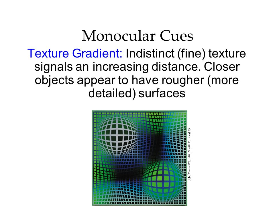 Monocular Cues Texture Gradient: Indistinct (fine) texture signals an increasing distance. Closer objects appear to have rougher (more detailed) surfa
