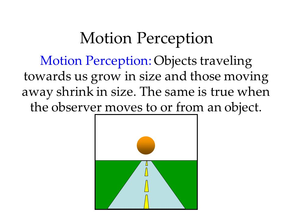 Motion Perception Motion Perception: Objects traveling towards us grow in size and those moving away shrink in size. The same is true when the observe