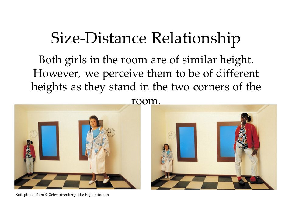 Size-Distance Relationship Both girls in the room are of similar height.