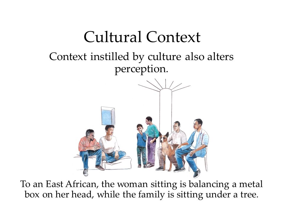 To an East African, the woman sitting is balancing a metal box on her head, while the family is sitting under a tree.