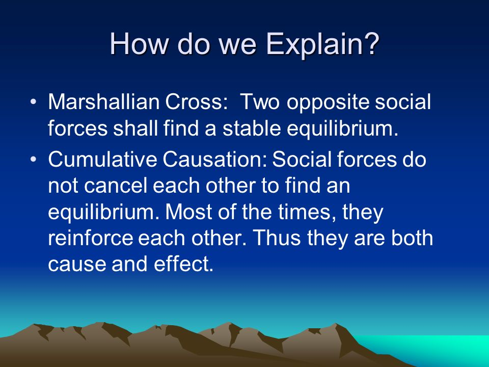 How do we Explain. Marshallian Cross: Two opposite social forces shall find a stable equilibrium.