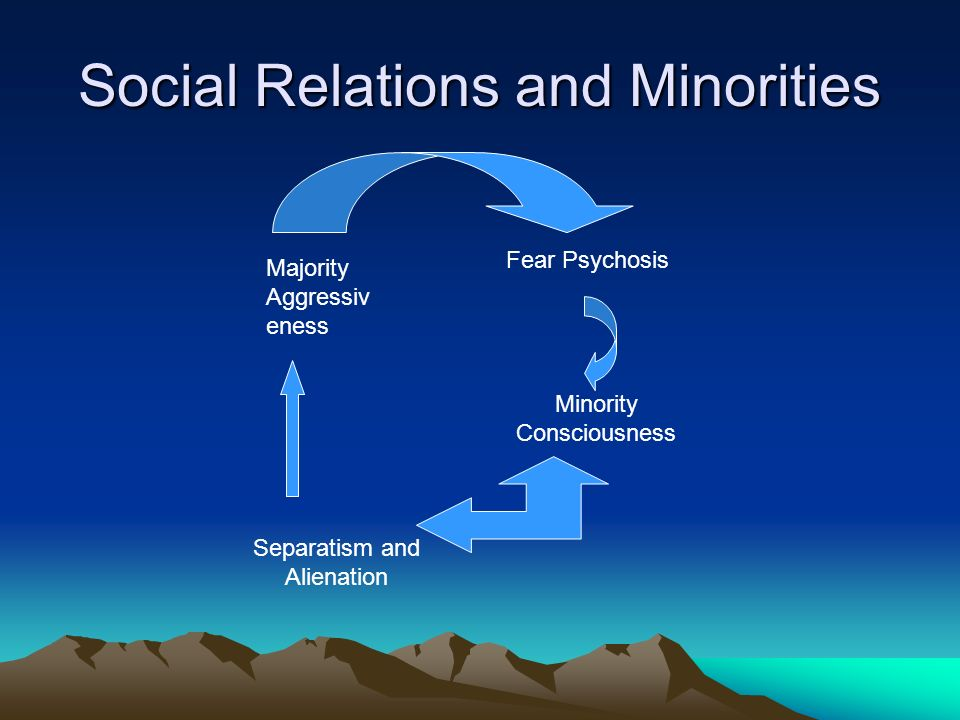 Social Relations and Minorities Fear Psychosis Majority Aggressiv eness Minority Consciousness Separatism and Alienation