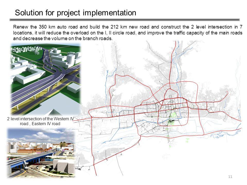 Solution for project implementation 11 Renew the 350 km auto road and build the 212 km new road and construct the 2 level intersection in 7 locations,