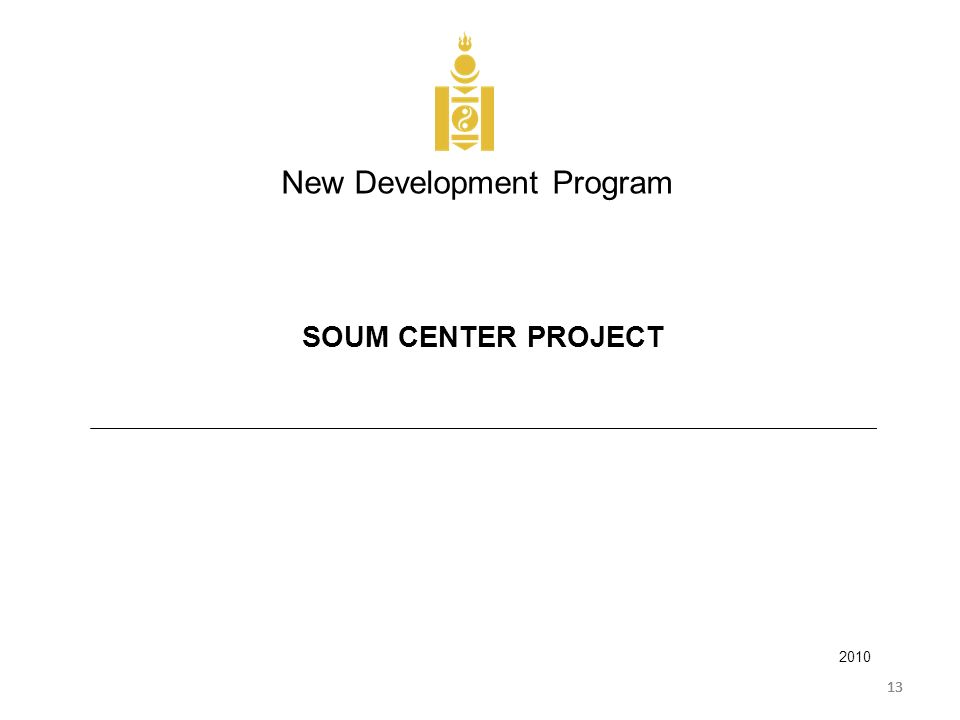13 New Development Program 2010 SOUM CENTER PROJECT