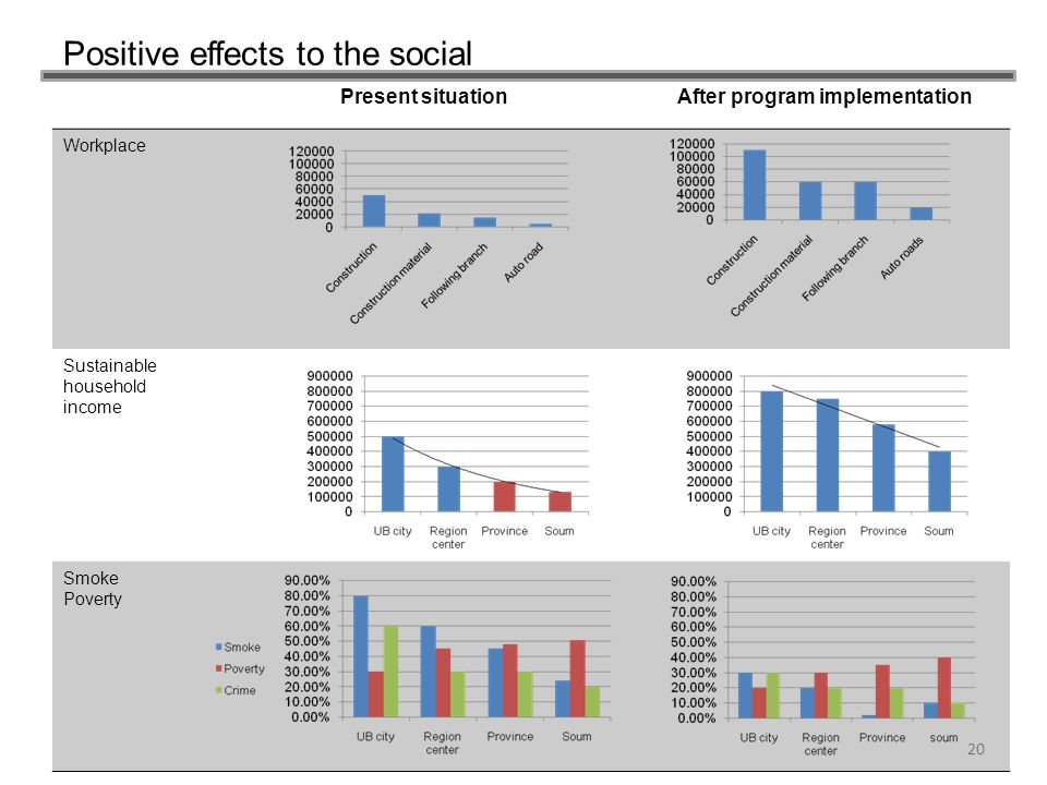 Positive effects to the social 20 Present situationAfter program implementation Workplace Sustainable household income Smoke Poverty