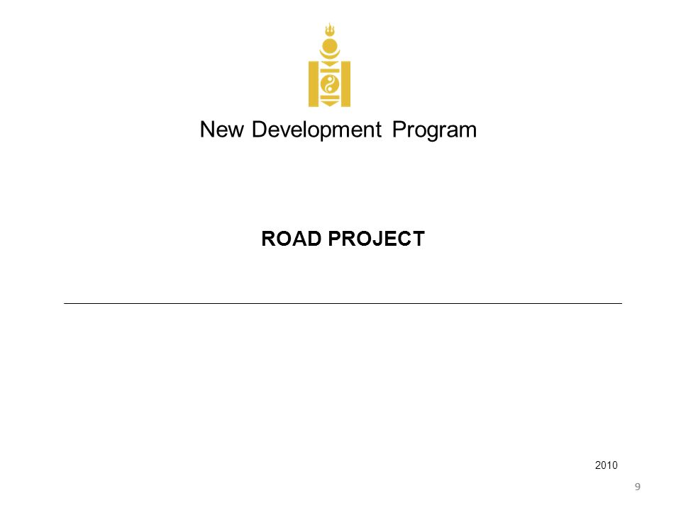 999 New Development Program 2010 ROAD PROJECT