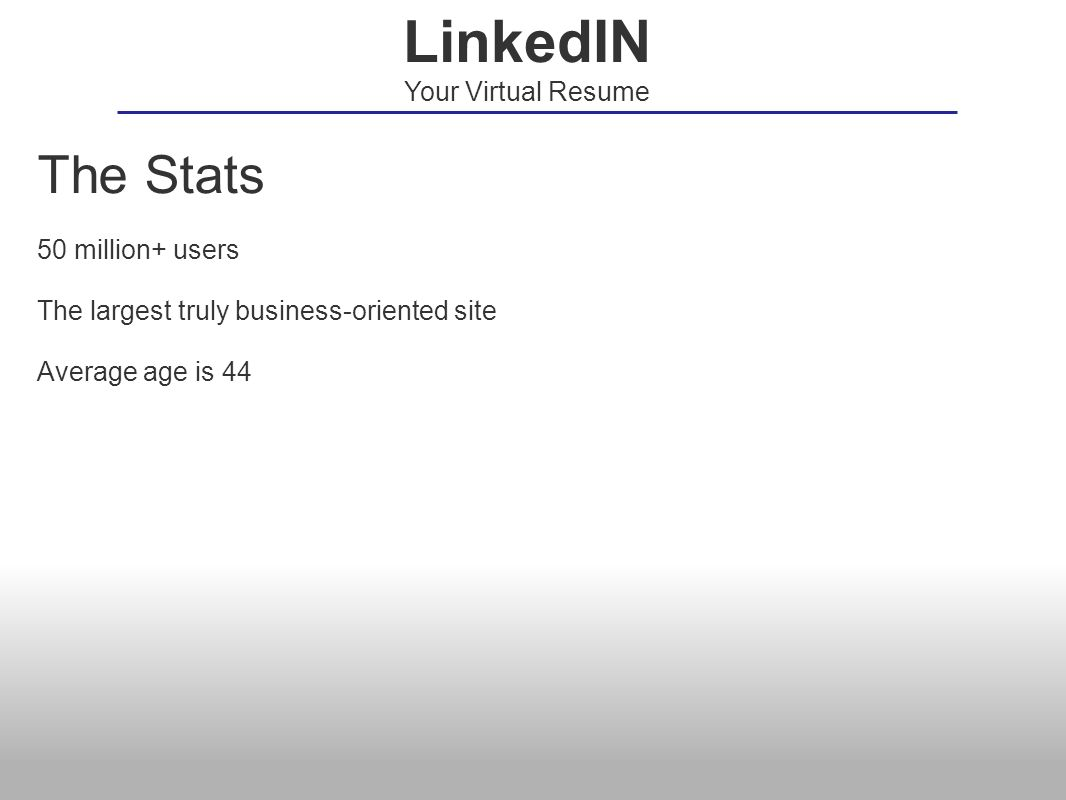 The Stats 50 million+ users The largest truly business-oriented site Average age is 44 LinkedIN Your Virtual Resume