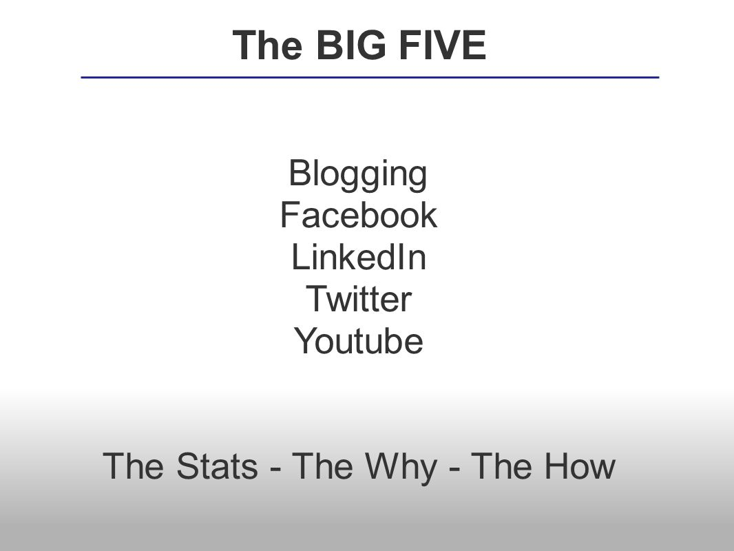 Blogging Facebook LinkedIn Twitter Youtube The Stats - The Why - The How The BIG FIVE