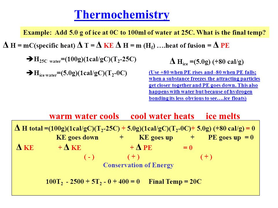 Thermochemistry Example: Add 5.0 g of ice at 0C to 100ml of water at 25C.