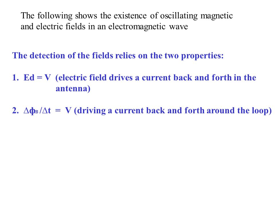 The following shows the existence of oscillating magnetic and electric fields in an electromagnetic wave The detection of the fields relies on the two