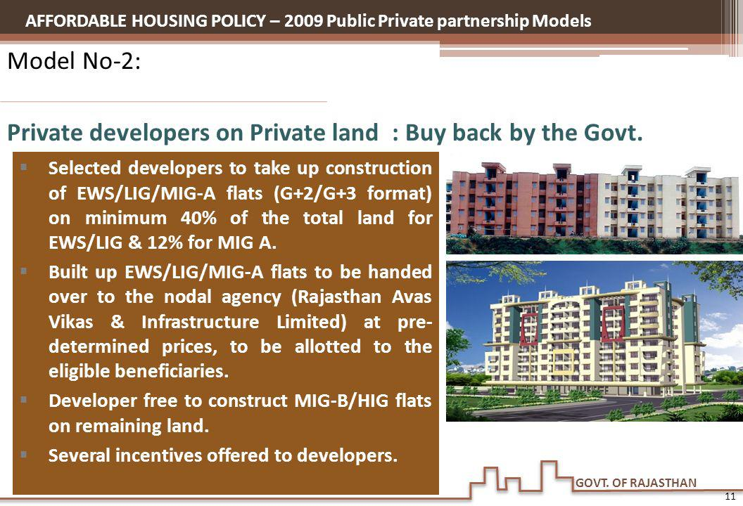 GOVT. OF RAJASTHAN Model No-2: Private developers on Private land : Buy back by the Govt. Selected developers to take up construction of EWS/LIG/MIG-A