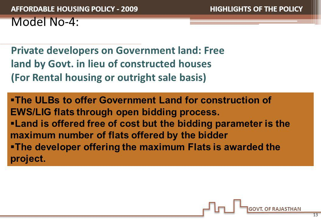 GOVT. OF RAJASTHAN HIGHLIGHTS OF THE POLICY Model No-4: Private developers on Government land: Free land by Govt. in lieu of constructed houses (For R