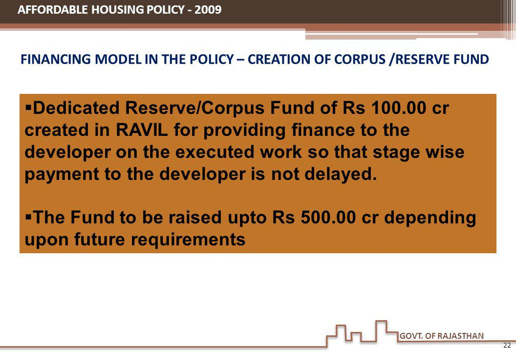 GOVT. OF RAJASTHAN FINANCING MODEL IN THE POLICY – CREATION OF CORPUS /RESERVE FUND AFFORDABLE HOUSING POLICY - 2009 Dedicated Reserve/Corpus Fund of