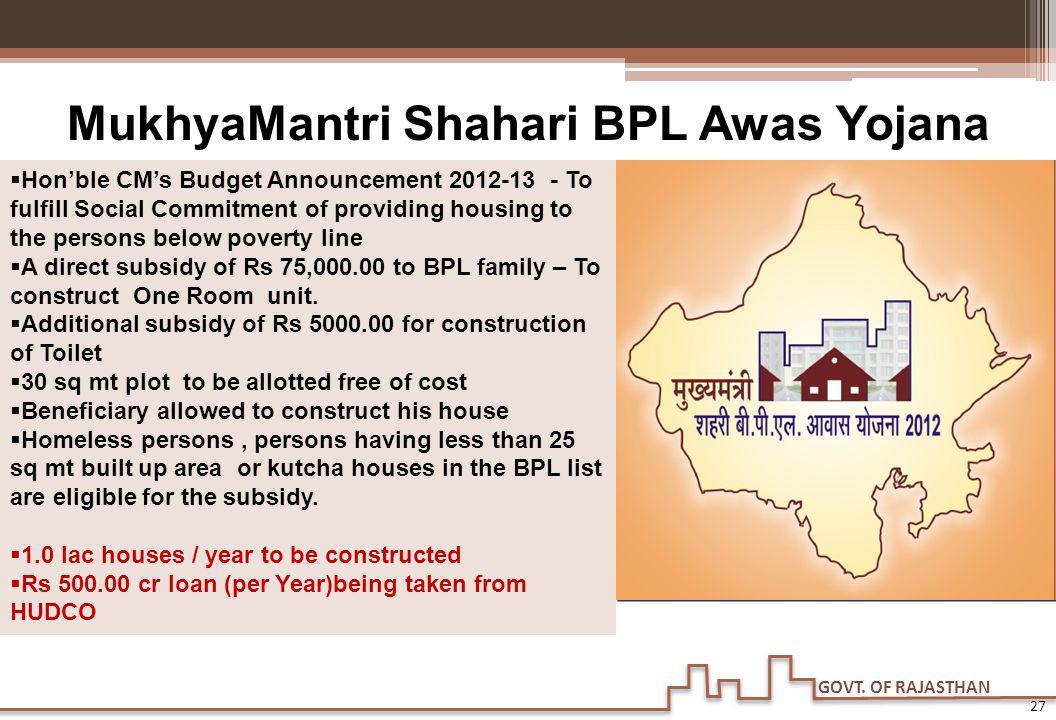 GOVT. OF RAJASTHAN 27 MukhyaMantri Shahari BPL Awas Yojana Honble CMs Budget Announcement 2012-13 - To fulfill Social Commitment of providing housing