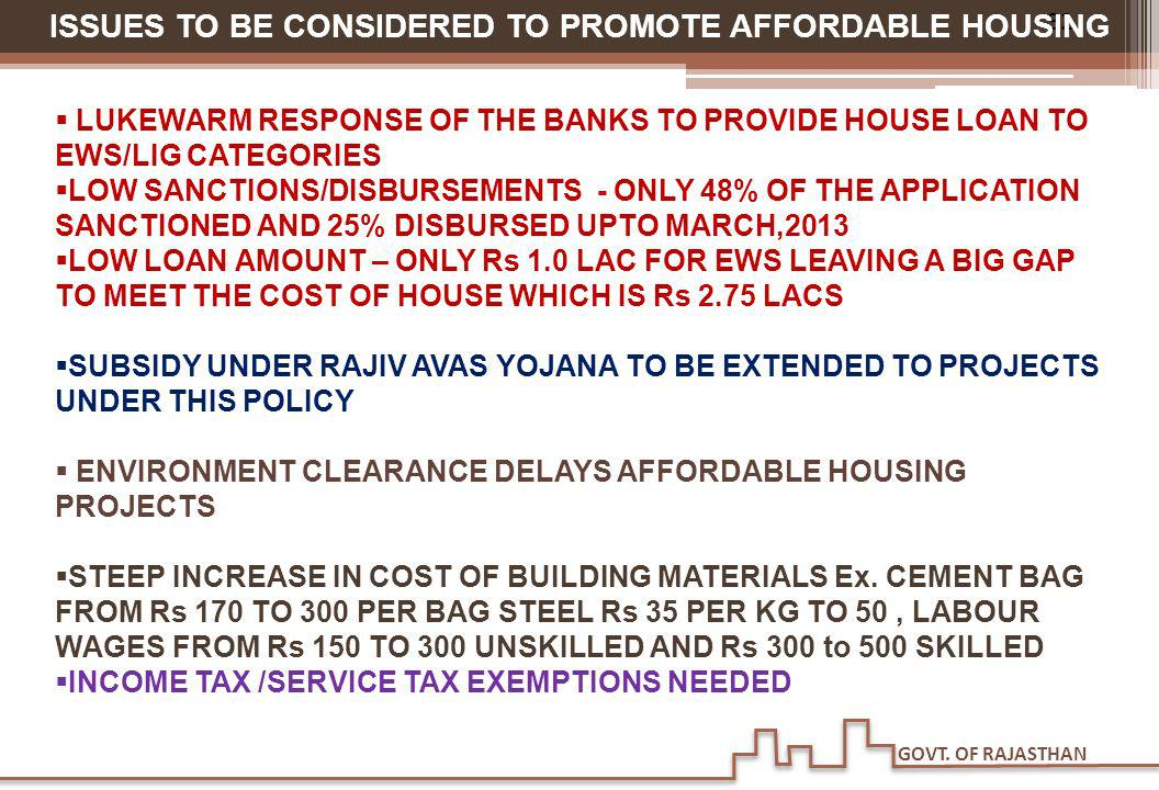 GOVT. OF RAJASTHAN 32 ISSUES TO BE CONSIDERED TO PROMOTE AFFORDABLE HOUSING LUKEWARM RESPONSE OF THE BANKS TO PROVIDE HOUSE LOAN TO EWS/LIG CATEGORIES