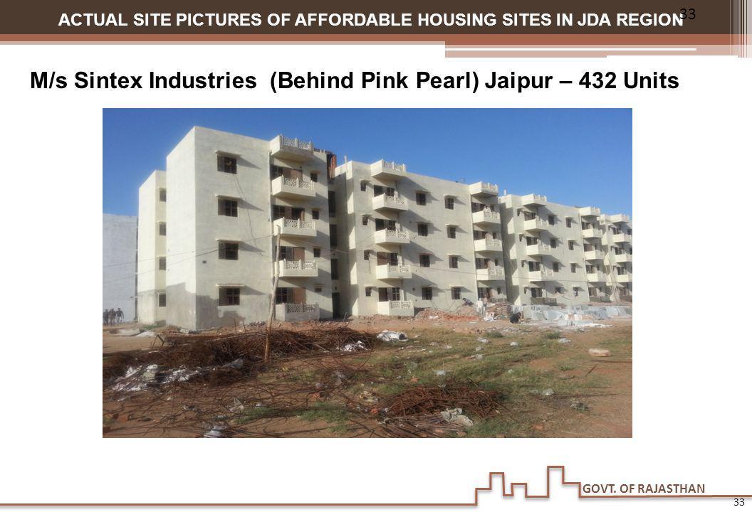 GOVT. OF RAJASTHAN ACTUAL SITE PICTURES OF AFFORDABLE HOUSING SITES IN JDA REGION M/s Sintex Industries (Behind Pink Pearl) Jaipur – 432 Units 33