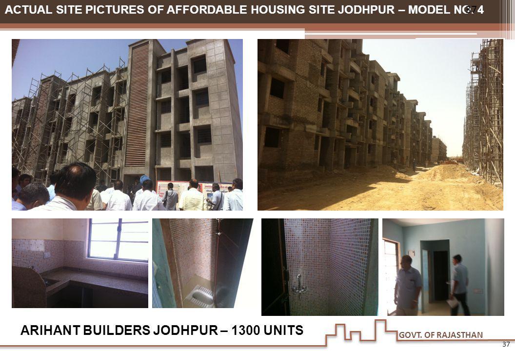 GOVT. OF RAJASTHAN ACTUAL SITE PICTURES OF AFFORDABLE HOUSING SITE JODHPUR – MODEL NO. 4 ARIHANT BUILDERS JODHPUR – 1300 UNITS 37