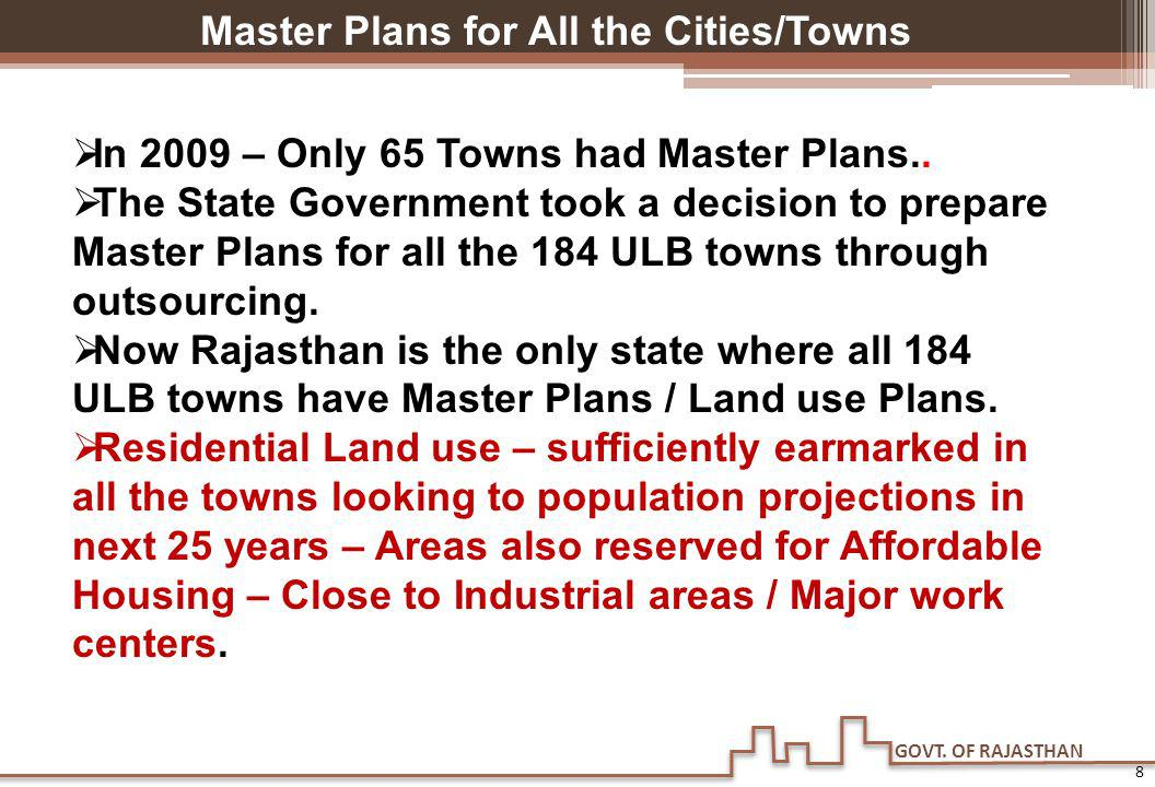 GOVT. OF RAJASTHAN 8 Master Plans for All the Cities/Towns In 2009 – Only 65 Towns had Master Plans.. The State Government took a decision to prepare