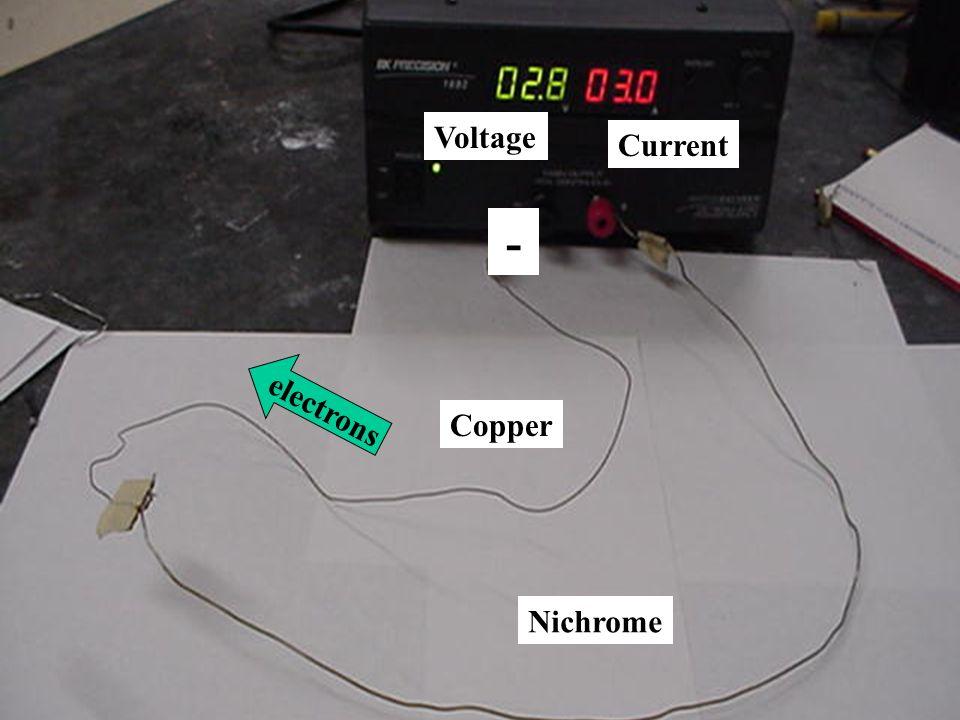Copper Nichrome Voltage Current - electrons