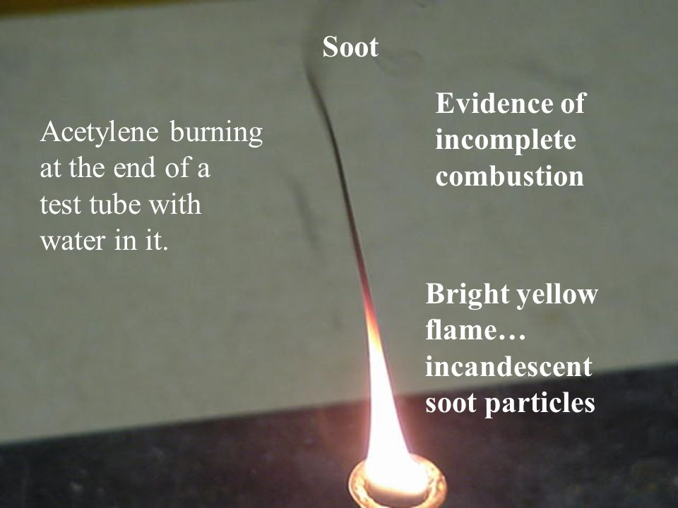 Acetylene burning at the end of a test tube with water in it. Evidence of incomplete combustion Bright yellow flame… incandescent soot particles Soot